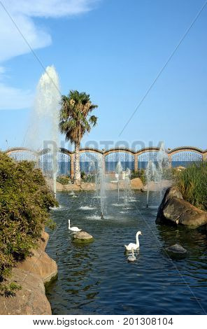 Oropesa del Mar Spain - July 26 2016: Picturesque Marina d'Or garden in the Oropesa del Mar resort town. Spain