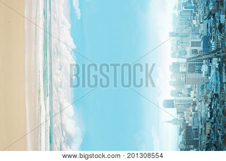Abstract sideways city and beach with copy space