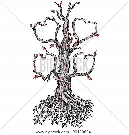 Tattoo style illustration of a Twisted Oak Tree without leaves and Branch forming into Heart and roots done in hand sketch drawing Tattoo.