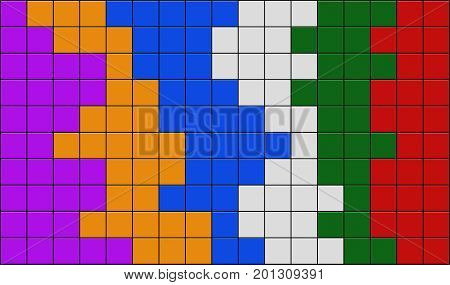 3d render of colourful tiles texture with black gap
