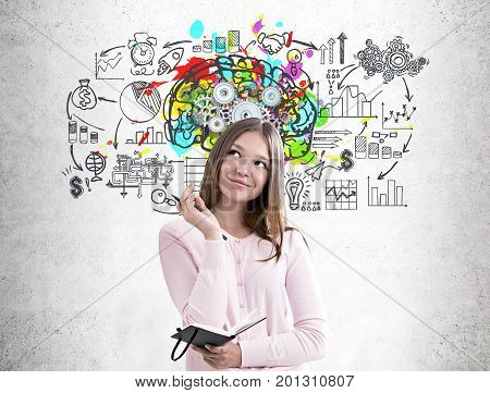 Woman With A Planner, Colorful Brain Cogs