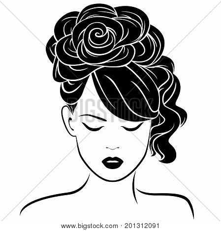 Attractive dreamy girl with high hairdo vector illustration isolated on the white background