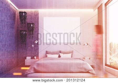 Gray And Concrete Bedroom, Poster Toned
