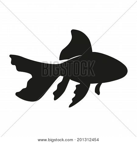 Icon of fish silhouette. Aquarium, companion, feline. Domestic animal concept. Can be used for topics like veterinary, breeding, pet