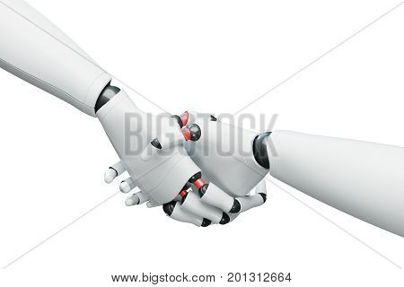 Two White Robots Shaking Hands, White Close Up