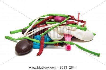 Colored balloons decoration isolated on white background
