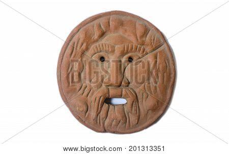 Mouth of Truth or Bocca della Verità. Replica of the famous marble mask in Rome Italy