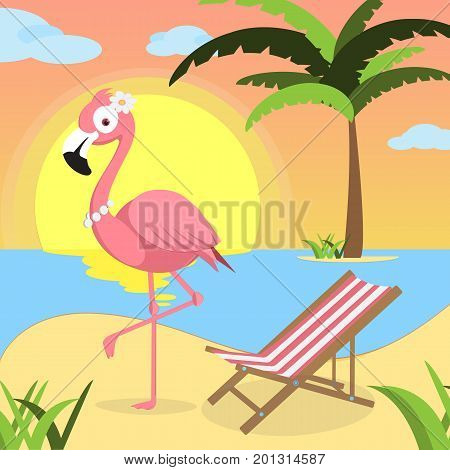 Summer background with Pink flamingo and red white lounger, of beach at sunset with waves, clouds and palm tree on the horizont. seaside view poster.  illustration. Flat design.