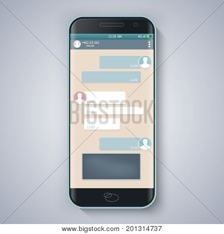 Messenger window. Blank template.Smart Phone. Chating and messaging concept. Vector.