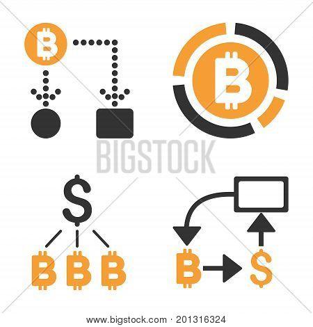 Bitcoin Cashflow vector icon set. Style is bicolor flat symbols.