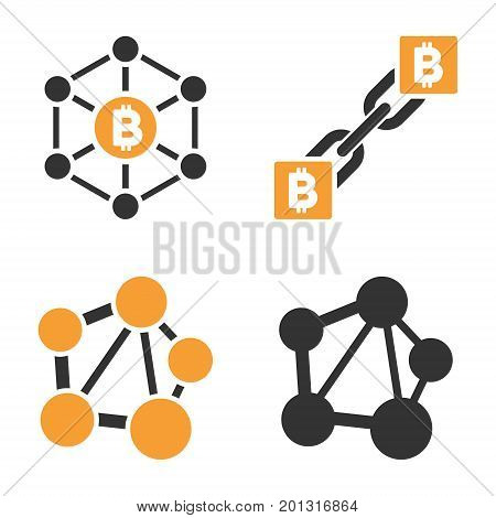 Bitcoin Net Links vector icon set. Style is bicolor flat symbols.