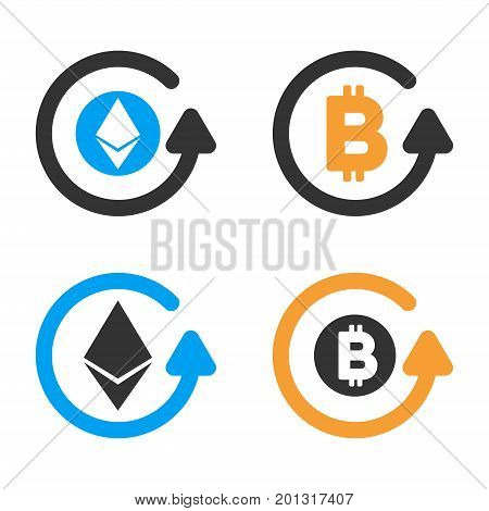 Cryptocurrency Refund vector icon set. Style is bicolor flat symbols.