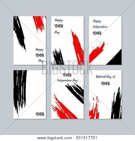 Yemen Patriotic Cards For National Day. Expressive Brush Stroke In National Flag Colors On White Car