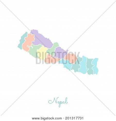 Nepal Region Map: Colorful With White Outline. Detailed Map Of Nepal Regions. Vector Illustration.