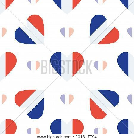 Wallis And Futuna Islands Flag Patriotic Seamless Pattern. National Flag In The Shape Of Heart. Vect