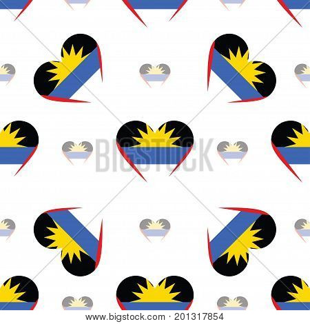 Antigua And Barbuda Flag Patriotic Seamless Pattern. National Flag In The Shape Of Heart. Vector Ill