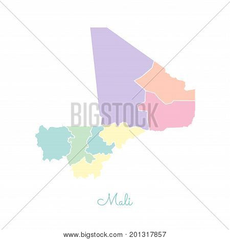 Mali Region Map: Colorful With White Outline. Detailed Map Of Mali Regions. Vector Illustration.