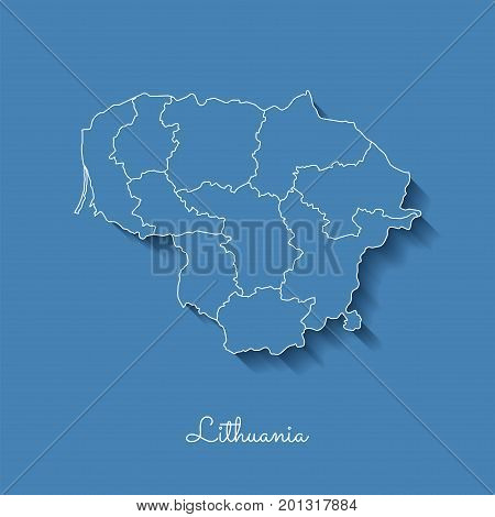 Lithuania Region Map: Blue With White Outline And Shadow On Blue Background. Detailed Map Of Lithuan