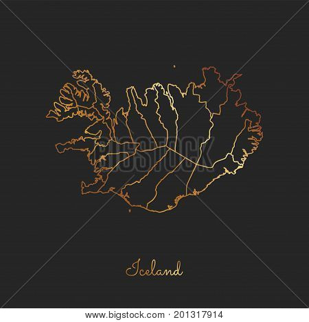 Iceland Region Map: Golden Gradient Outline On Dark Background. Detailed Map Of Iceland Regions. Vec