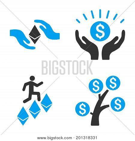 Financial Prosperity vector icon set. Style is bicolor flat symbols.