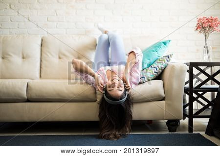 Woman In A Funny Upsidedown Pose