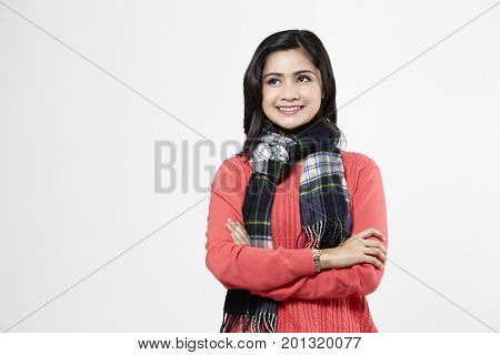 portrait of the malay woman on the white background