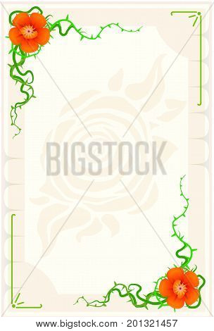 Small blank card with flower ornament elements vertical empty paper vector background