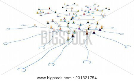 Crowd of small symbolic 3d figures linked by lines reaching tentacles over white isolated