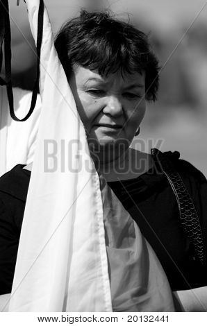 LONDON - APRIL 18: Poland mourns the victims of a plane crash near Smolensk in which the Polish president Lech Kaczynski was killed with his wife Maria Kaczynska. April 18, 2010 in London, UK