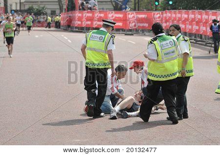 LONDON - APRIL 17: Virgin London Marathon 2011. London, UK. 17/04/2011. Unidentified runner