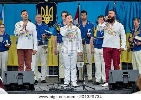 August 19 2017. Toronto Canada - Largest Ukrainian diaspora celebrating 26 Ukrainian Independence Day at Centennial Park in Toronto ON Canada