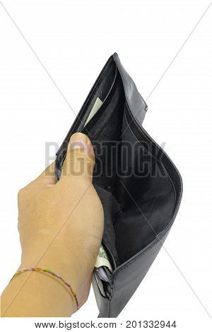No Coin of Money in purse on white background