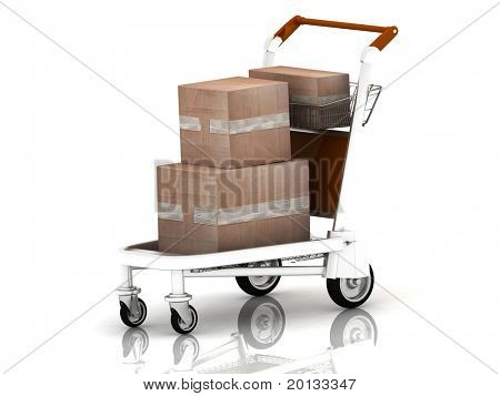 cardboard boxes set on a freight light cart