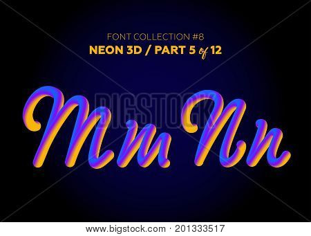 Neon 3D Typeset with Rounded Shapes. Font Set of Painted Letters. Matte Liquid Purple and Yellow Colors. Night Glow Effect. Tube Alphabet. ABC for DJ Poster Sale Banner Signboard Advertising.
