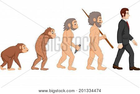 Vector illustration of Cartoon human evolution on white background