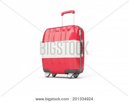 Luggage With Flag Of Austria. Suitcase Isolated On White