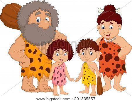 Cartoon caveman family isolate on white background