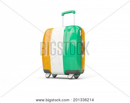 Luggage With Flag Of Cote D Ivoire. Suitcase Isolated On White