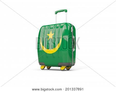 Luggage With Flag Of Mauritania. Suitcase Isolated On White