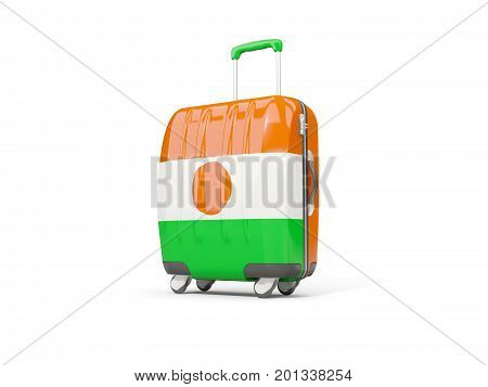 Luggage With Flag Of Niger. Suitcase Isolated On White
