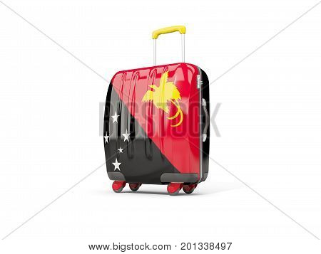 Luggage With Flag Of Papua New Guinea. Suitcase Isolated On White