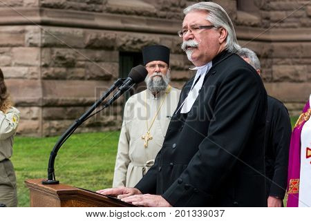 August 24 2017. Toronto Canada - Hon. Dave Levac during the ceremony of raising the Ukrainian flag during the celebration of the Independence Day of Ukraine near Legislative Assembly of Ontario in Toronto Canada