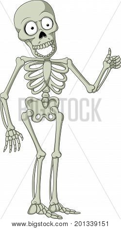 Vector illustration of Cartoon skeleton giving thumb up