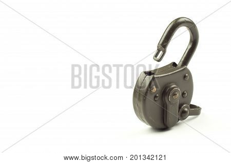 Green unlocked padlock. Security and data protection