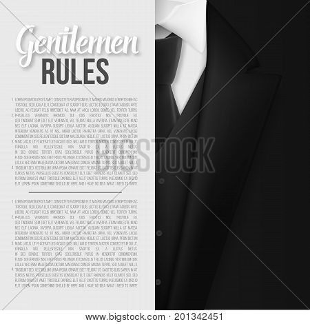 Illustration of Vector Black Suit. Gentlemen Rules List Template. Realistic Vector Mens Suit