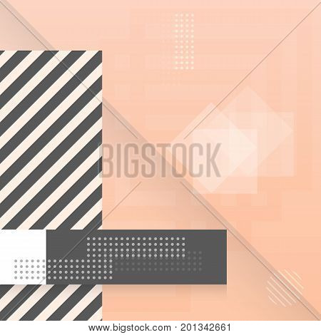 Illustration of Trendy Abstract Shapes Geometric Background. 90s Style Hipster Funky Shapes Poster Template