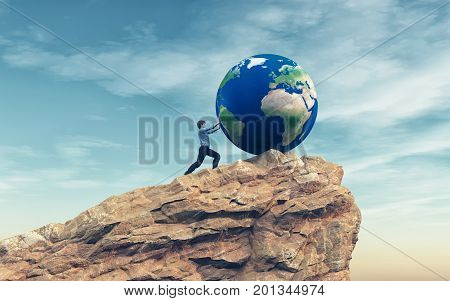 Man pushing a big earth globe to the top of the mountain. Success concept. This is a 3d render illustration