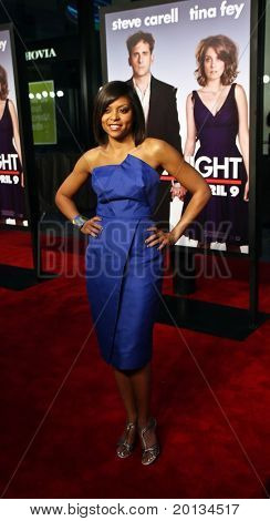 """Actress Taraji Henson, wearing Victoria Beckham, attends the movie premiere of """"Date Night"""" at the Ziegfeld Theatre on April 6, 2010 in New York City."""