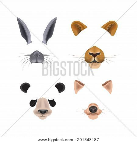 Video chat effects with ears and snout of cute grey rabbit, gorgeous lioness, adorable panda and funny fox isolated vector illustrations on white background. Animalistic masks to create comic picture.