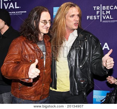 """NEW YORK - APRIL 24: Geddy Lee (L) and Sebastian Bach (R) attend the """"RUSH: Beyond the Lighted Stage"""" premiere during the 2010 TriBeCa Film Festival at the School of Visual Arts Theater on April 24, 2010 in New York City."""